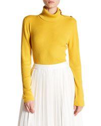 Lands' End - Yellow Merino Wool Ribbed Turtleneck - Lyst