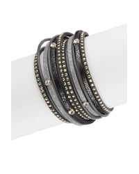 Saachi - Gray Grey Sabrina Leather Wrap Bracelet - Lyst