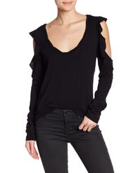 Pam & Gela - Black Long Sleeve Drapey Cold Shoulder Tee - Lyst