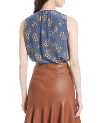 Rebecca Taylor - Blue Silk Sleeveless Top - Lyst