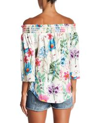 Fifteen Twenty - Multicolor Floral Off The Shoulder Blouse - Lyst