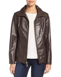 Ellen Tracy - Brown Stand Collar Leather Jacket - Lyst