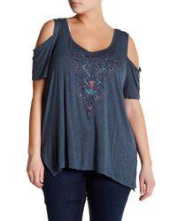 Jessica Simpson | Blue Cold Shoulder Graphic Shirt (plus Size) | Lyst