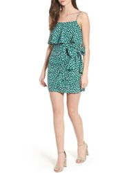 Lush - Green Popover Wrap Front Dress - Lyst