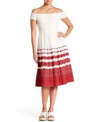 Max Studio - Red Off-the-shoulder Gauze Midi Dress - Lyst