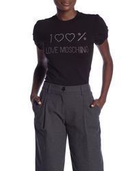 Love Moschino - Black Buffo Logo Strass Tee - Lyst