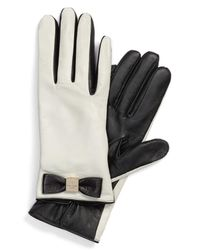 Kate Spade - Black Bow Logo Genuine Leather Gloves - Lyst