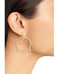 Luv Aj - Metallic Hanging Jewel Frontal Hoop Earrings - Lyst