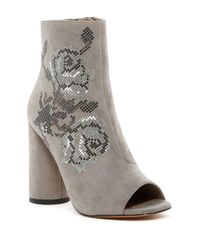 Donald J Pliner - Gray Barri Open Toe Embellished Bootie - Lyst