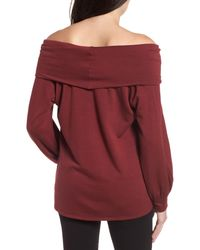 Caslon - Red Caslon Convertible Neck Sweatshirt - Lyst