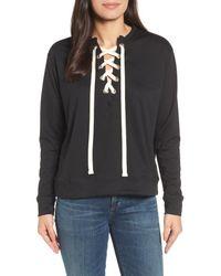 Caslon - Black Caslon Lace-up Sweatshirt - Lyst