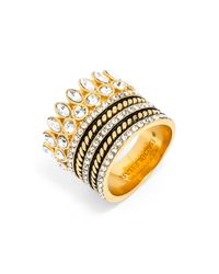 BaubleBar - Metallic Bezel Set Crystal Ring Stack - Lyst