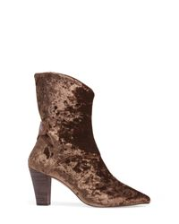 Free People | Brown Moonlight Velvet Bootie | Lyst