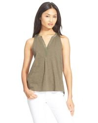 Soft Joie - Green 'carley' Split Neck Mixed Media Top - Lyst