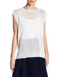 INHABIT | White Drapey Crew Neck Linen Blend Shirt | Lyst