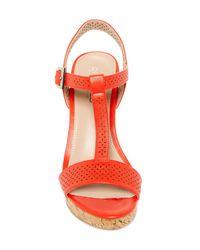 Charles David | Red Law Wedge Sandal | Lyst