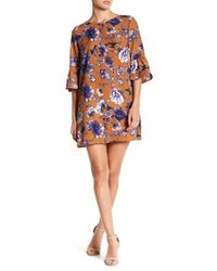 Rokoko by Dazz - Blue Floral Bell Sleeve Mini Dress - Lyst