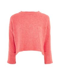 TOPSHOP - Pink Rib Knit Crop Sweater - Lyst