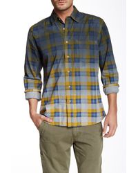 Vintage 1946   Blue Huntington Dip Dye Classic Fit Plaid Long Sleeve Shirt for Men   Lyst