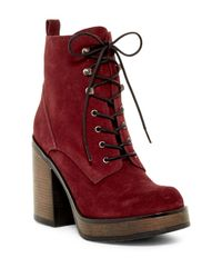 Shellys London - Red Kayla Lace Platform Boot - Lyst