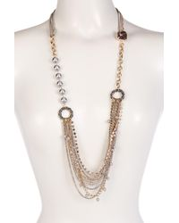 Betsey Johnson | Black Multi Chain Imitation Pearl & Rhinestone Statement Necklace | Lyst