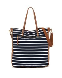 Madden Girl Blue Striped Jersey Tote