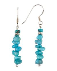 Peyote Bird - Blue Sterling Silver Large Turquoise Beaded Stick Dangle Earrings - Lyst