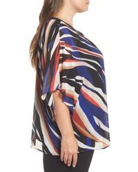 Vince Camuto - Blue Graphic Zebra Flutter Top - Lyst