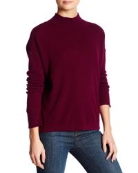 INHABIT | Purple Mock Neck Long Sleeve Back Slit Cashmere Sweater | Lyst
