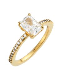 Nadri - Metallic Prong Set Emerald Cut Cz & Pave Ring - Size 7 - Lyst