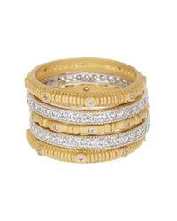 Freida Rothman - Metallic Two-tone Cz Accent Ring Set - Size 9 - Lyst