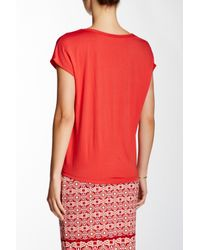 Max Studio - Red Wrap Front Tee - Lyst