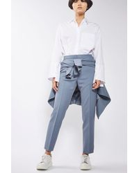 TOPSHOP - Blue Tailored Cigarette Trousers - Lyst