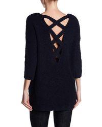Dex Blue Crisscross Back Knit Sweater