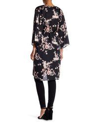 Soprano - Black Floral Satin Tie Kimono - Lyst