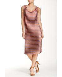 Splendid - Red 'monterosso' Stripe Mix Midi Dress - Lyst