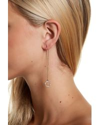 Jessica Simpson - Brown Crystal Detail Circle Drop Threader Earrings - Lyst