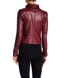 June - Red Asymmetrical Genuine Leather Jacket - Lyst