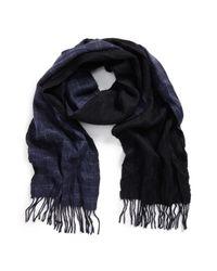 John Varvatos - Blue Double Face Windowpane Wool Scarf for Men - Lyst