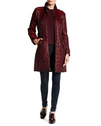 Cole Haan - Red Quilted Leather Trim Belted Coat - Lyst
