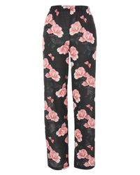 TOPSHOP - Black Rose Pajama Pants - Lyst