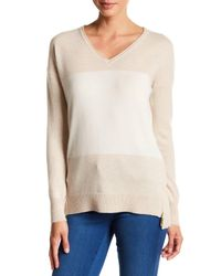 In Cashmere - Natural Colorblock Stripe Cashmere V-neck Sweater - Lyst