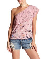 Love, Fire - Pink One-shoulder Flounce Blouse - Lyst