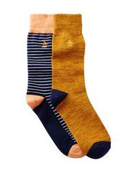 Original Penguin - Orange Balboa & Atrium Crew Socks - Pack Of 2 for Men - Lyst