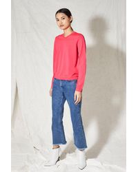 TOPSHOP - Pink V-neck Sweater - Lyst