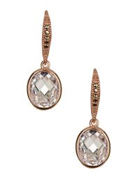 Judith Jack - Metallic Rose Gold Plated Sterling Silver Oval Cz Drop Earrings - Lyst