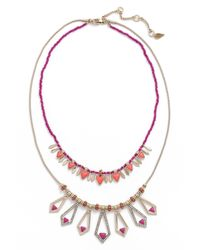 Kent & King   Pink Multistrand Crystal Necklace   Lyst