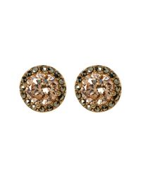Judith Jack - Metallic 10k Gold Plated Cz & Marcasite Halo Stud Earrings - Lyst