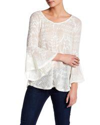 Jessica Simpson   White Bell Sleeve Split Back Sweater   Lyst