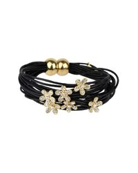 Saachi - Black Flower Charm String Bracelet - Lyst